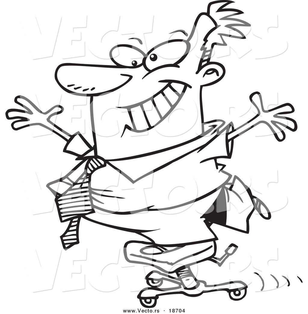 Vector Of A Cartoon Businessman Standing On A Rolling