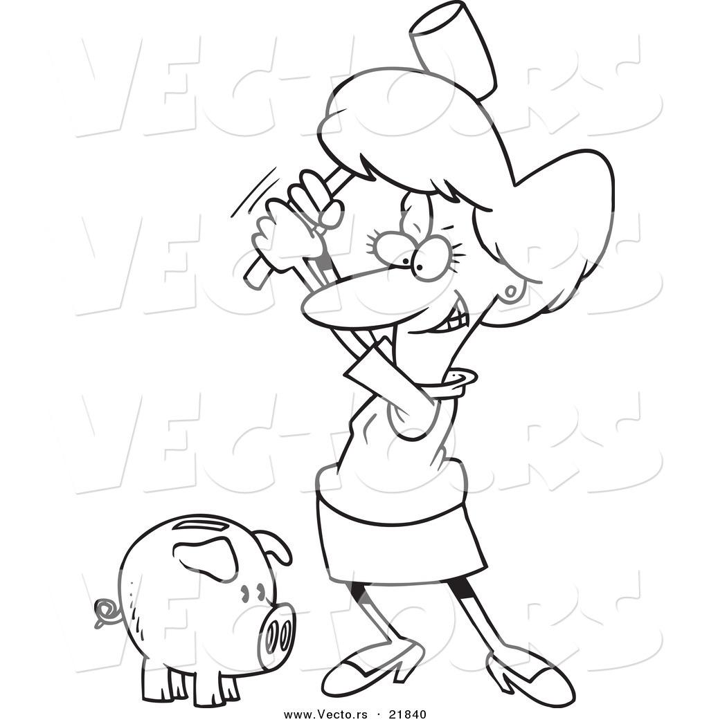 vector of a cartoon businesswoman breaking a piggy bank outlined