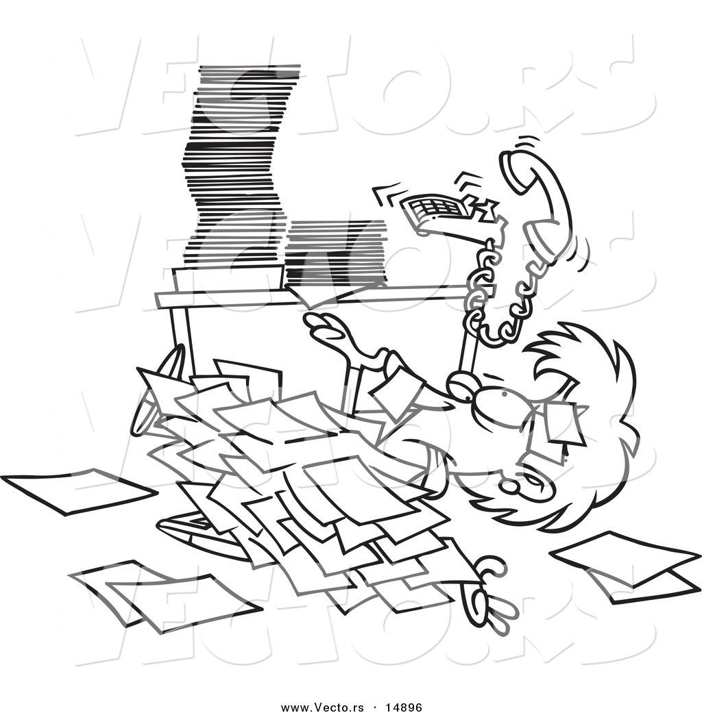 Vector Of A Cartoon Businesswoman Buried Under Paperwork