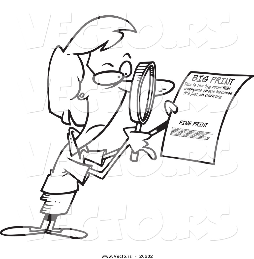 Vector Of A Cartoon Businesswoman Using A Magnifying Glass