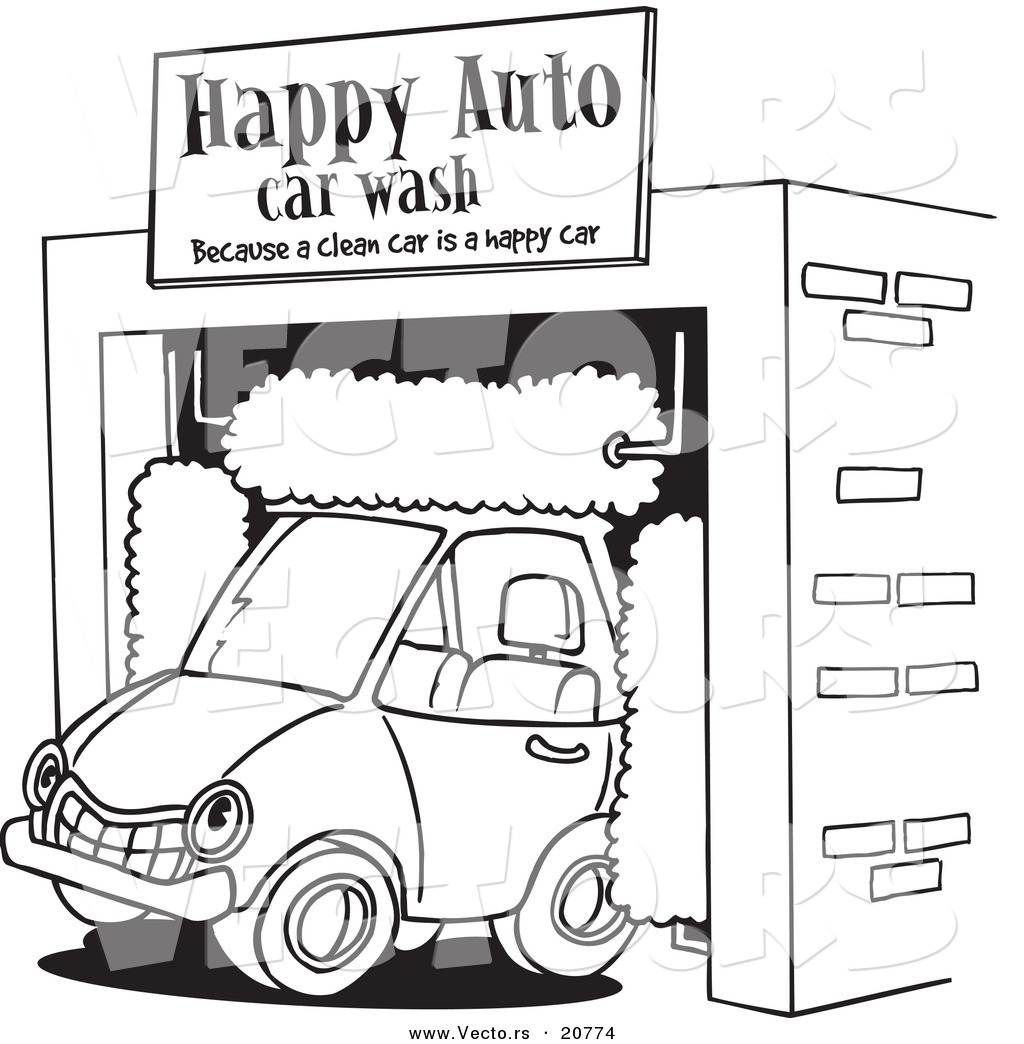 Vector Of A Cartoon Car Driving Through An Auto Wash