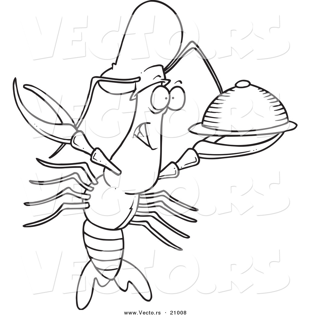 Vector Of A Cartoon Chef Crawdad Holding A Platter