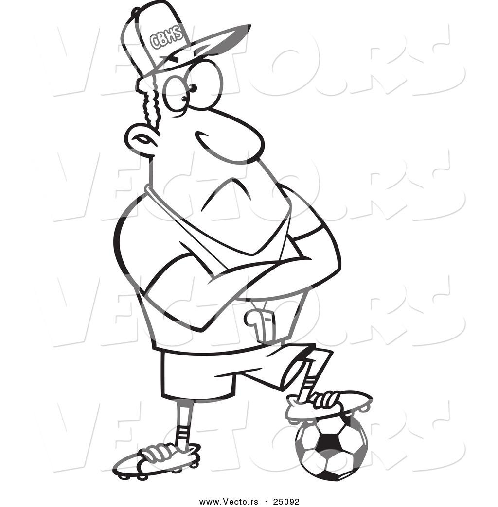 Vector Of A Cartoon Coach Man Resting A Foot On A Soccer