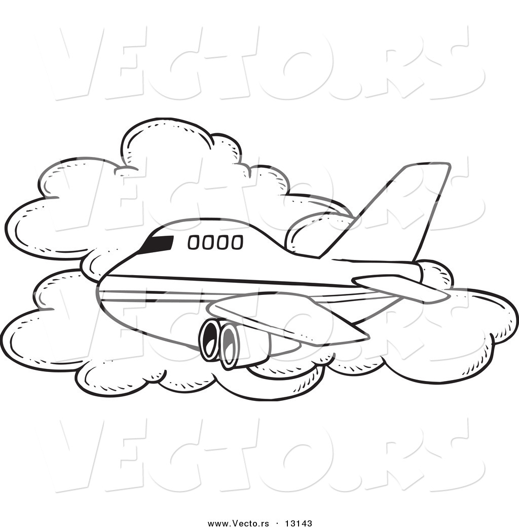 commercial airliner passing a cloud in flight coloring page outline