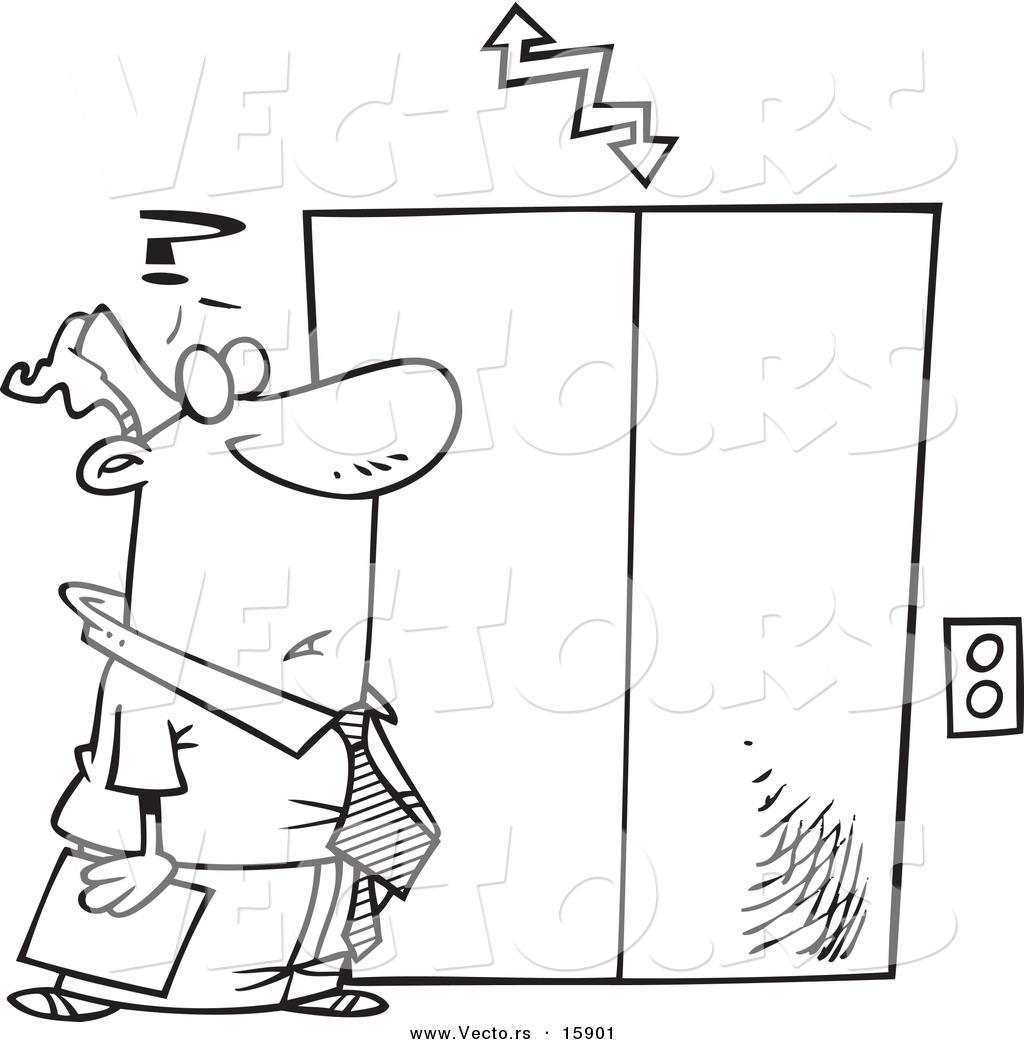 Cartoon Elevator Clip Art Sketch Coloring Page