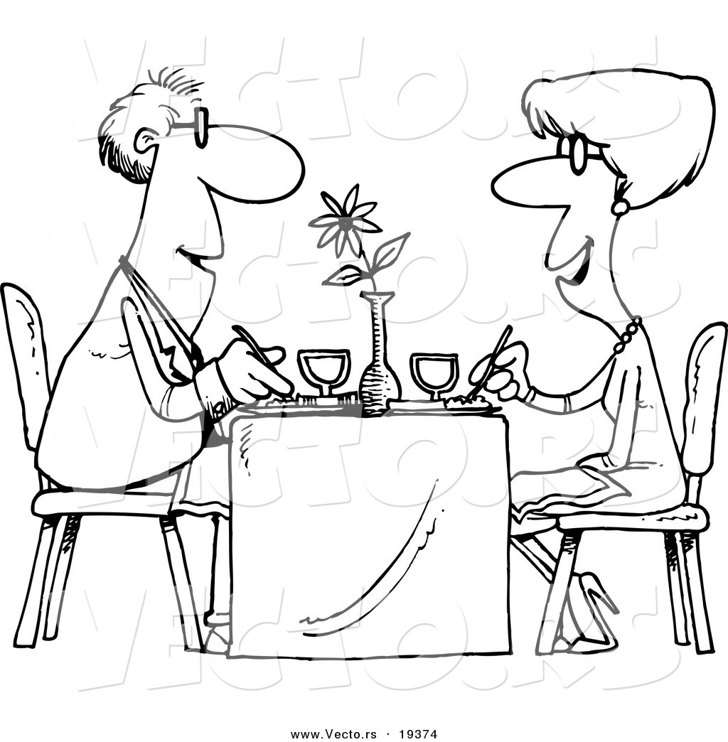 Larger Preview Vector Of A Cartoon Couple Dining At A