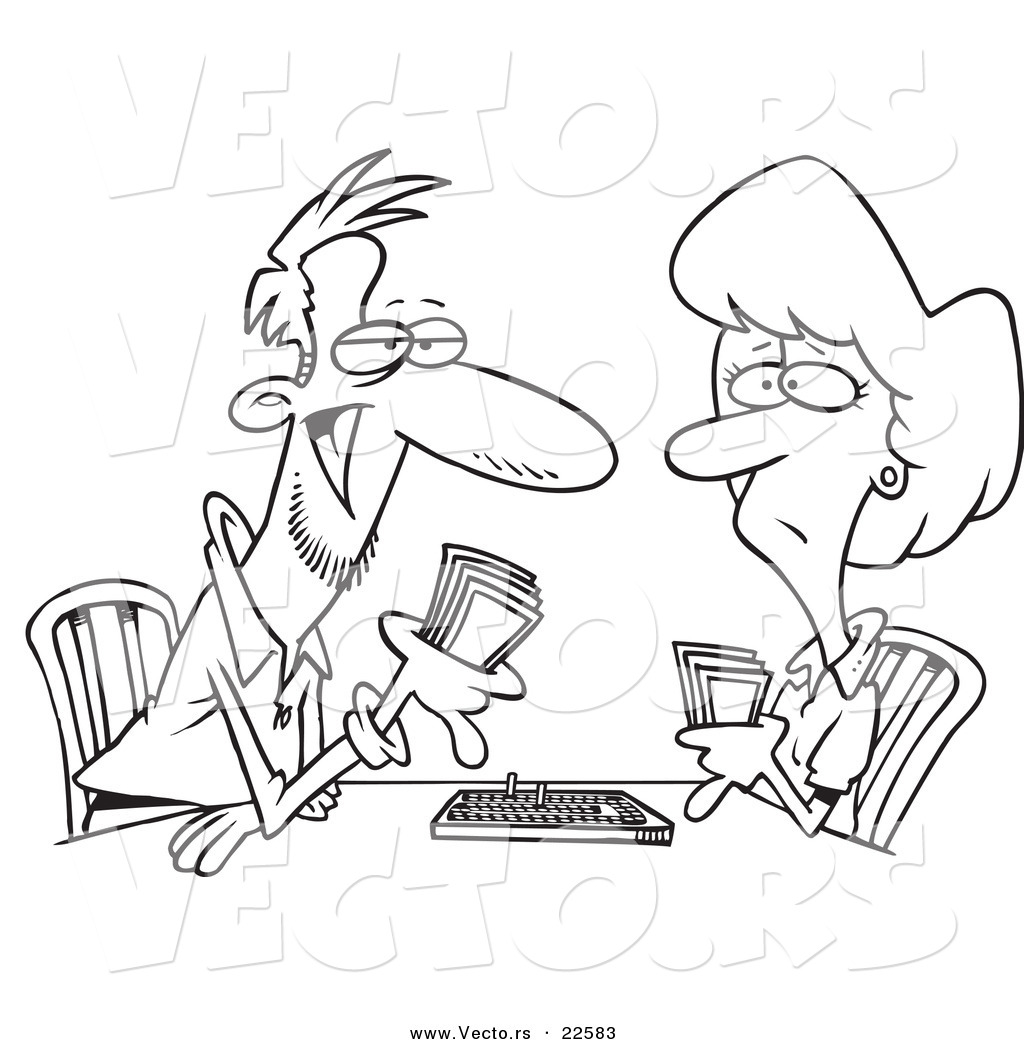 Vector Of A Cartoon Couple Playing Cribbage Coloring Page