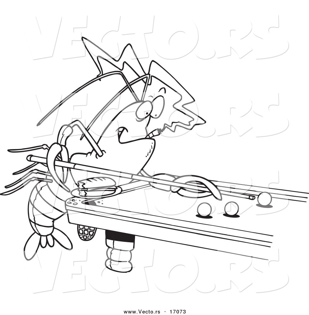Vector Of A Cartoon Crawdad Leaning Over A Billiards Table