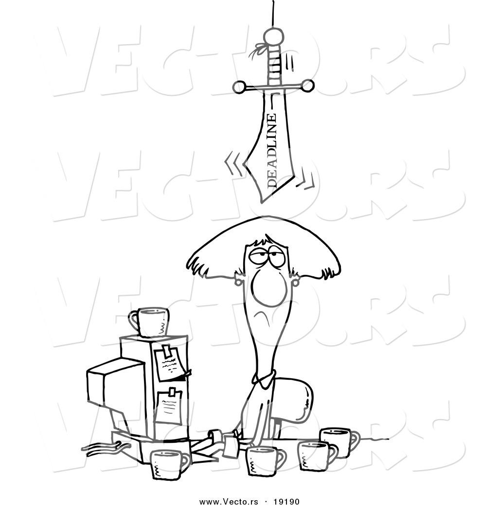 Vector Of A Cartoon Deadline Sword Looming Over A Businesswoman