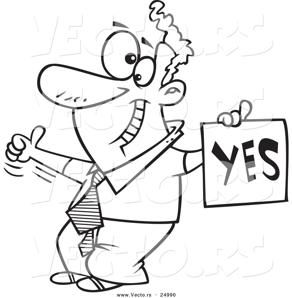 Vector Of A Cartoon Displeased Man With A Thumb Up Holding A Yes Sign