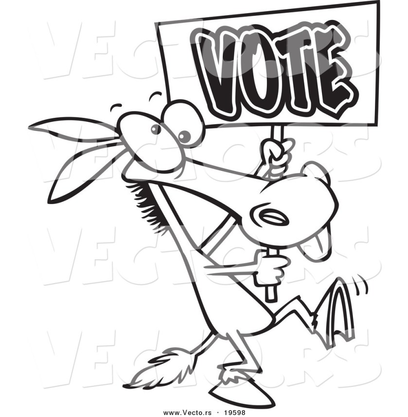 vector of a cartoon donkey carrying a vote sign  outlined