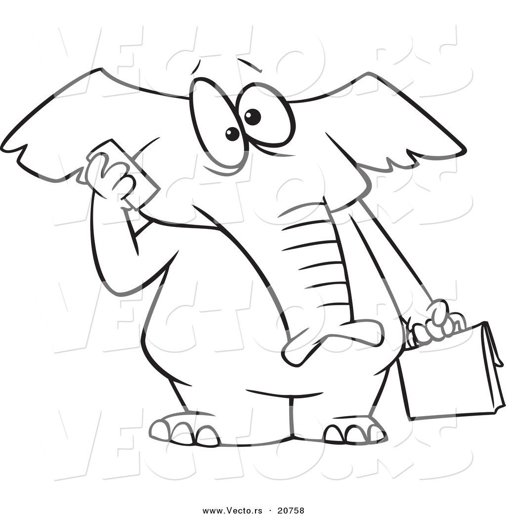Vector Of A Cartoon Elephant Talking On A Cell Phone