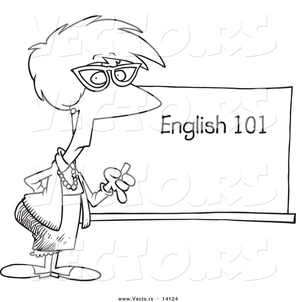 Vector Of A Cartoon English 101 Teacher Standing By A
