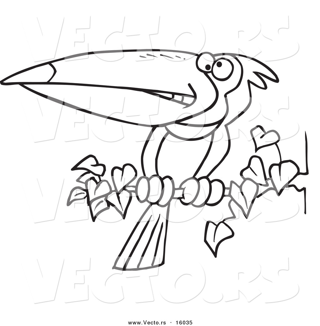 Vector Of A Cartoon Exotic Toucan Perched On A Branch