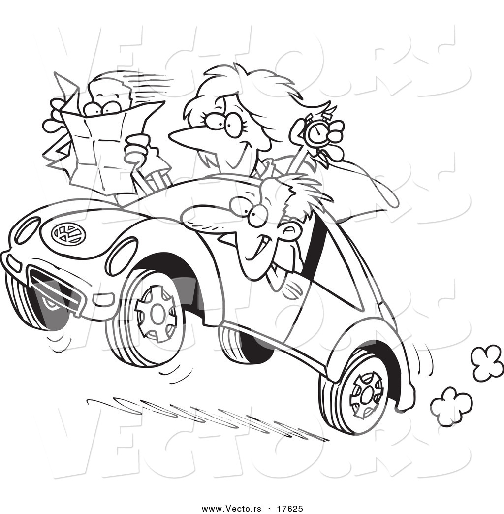 Vector Of A Cartoon Family Driving A Rally