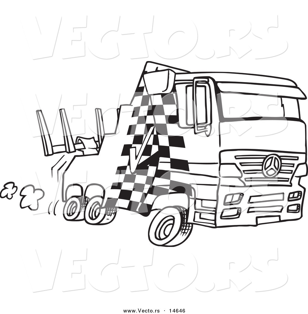 vector of a cartoon fast tow truck coloring page outline by ron