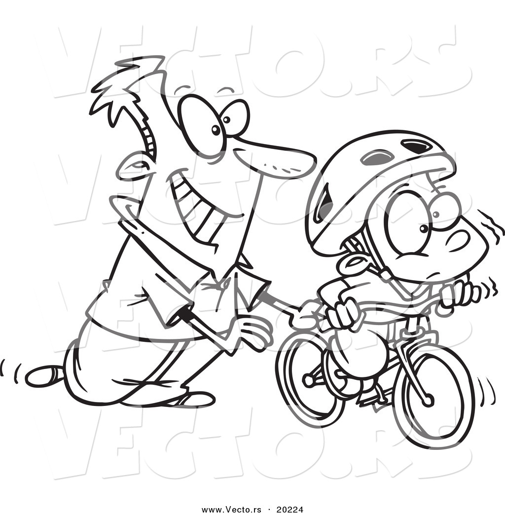 Vector Of A Cartoon Father Teaching His Boy To Ride A Bike