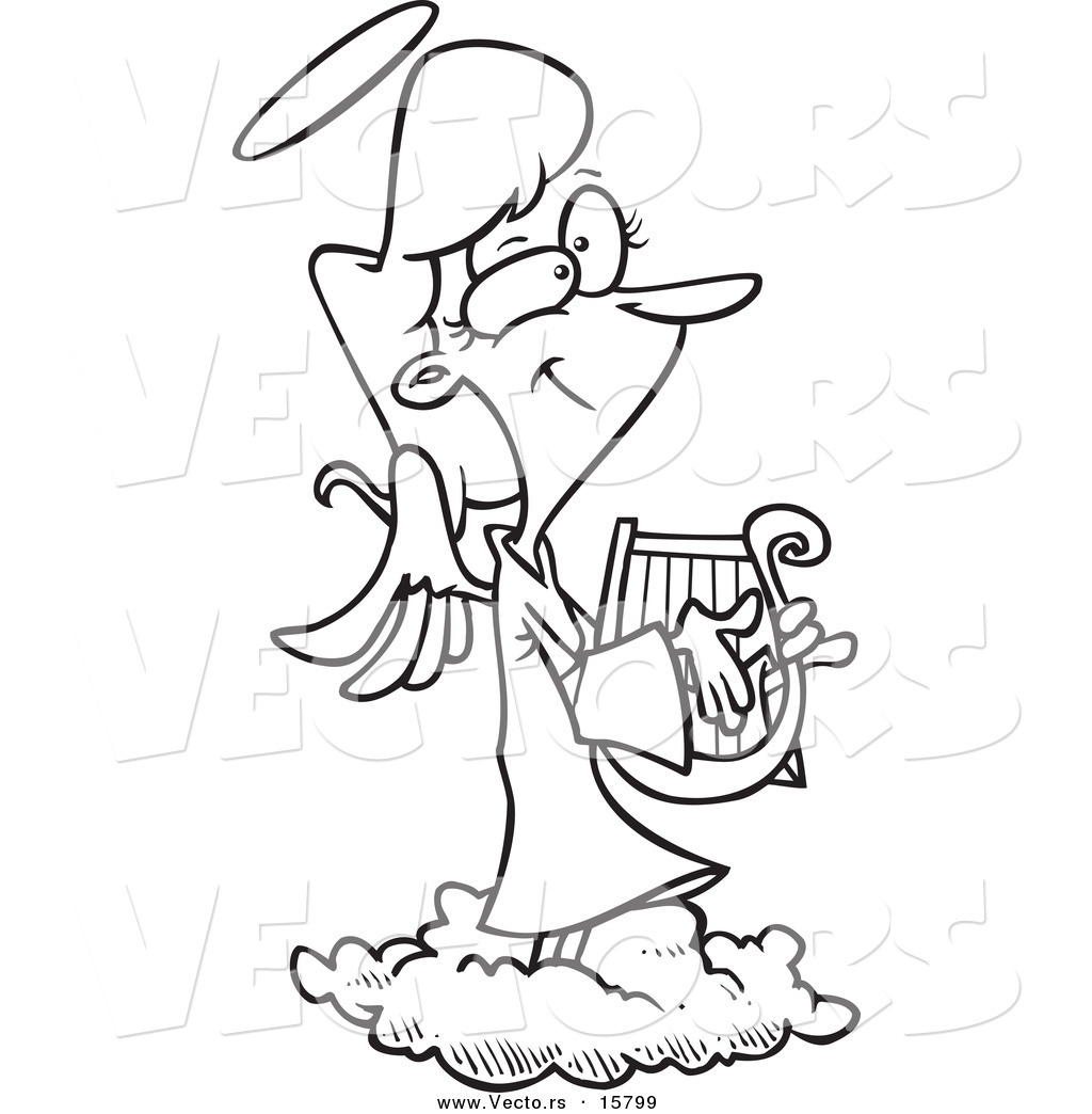 Vector Of A Cartoon Female Angel Playing A Lyre