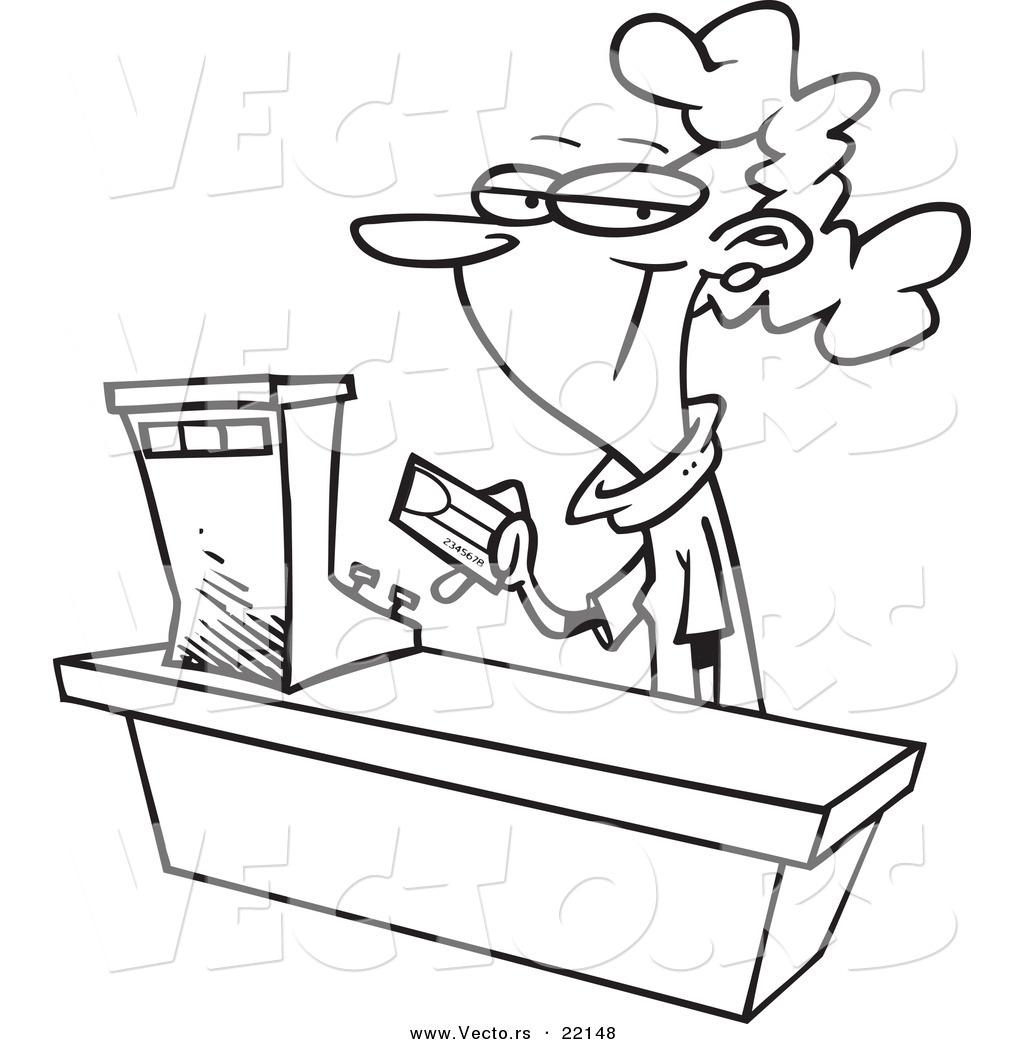 Vector Of A Cartoon Female Sales Clerk