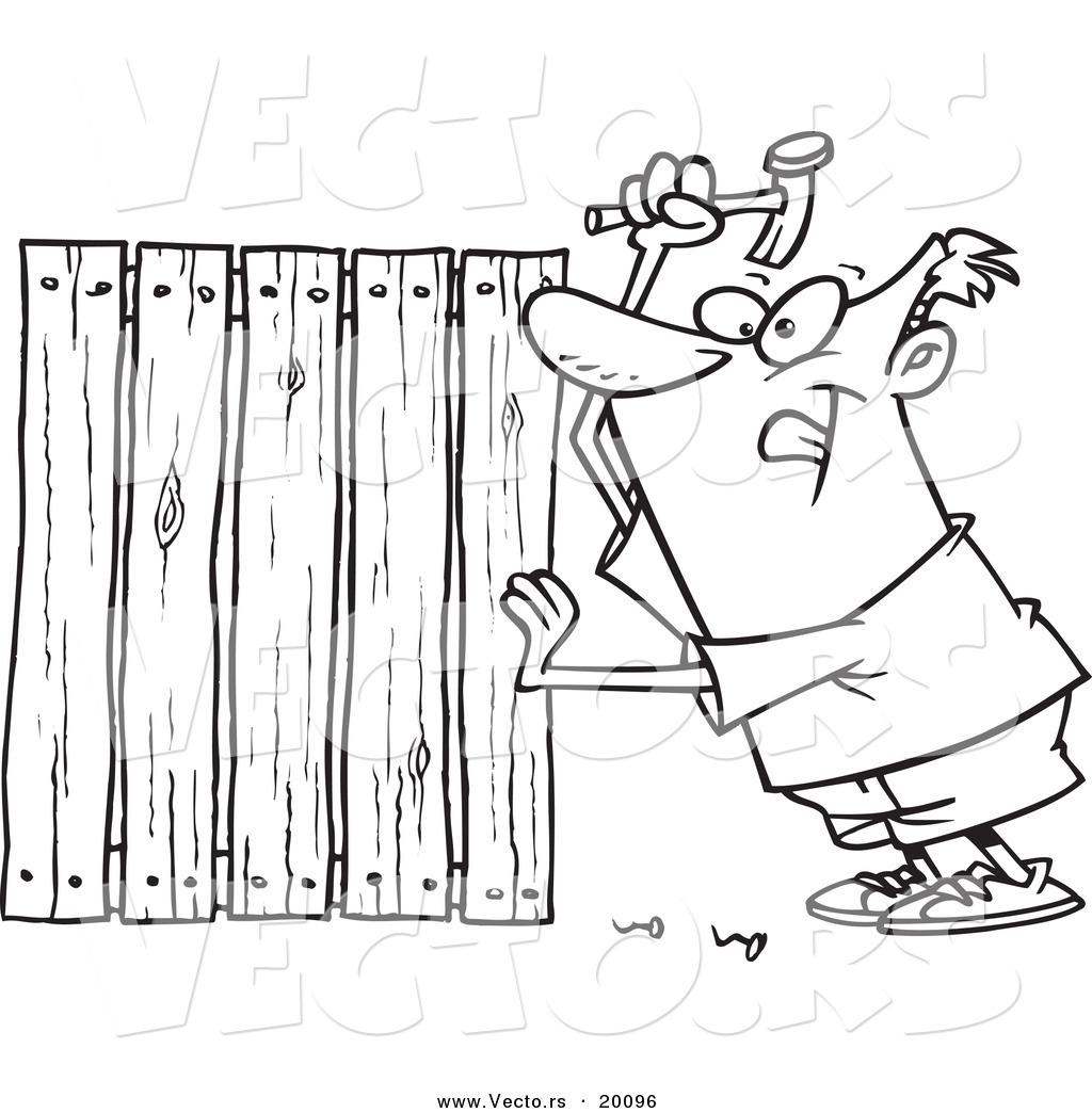 Vector Of A Cartoon Fencer Nailing Boards