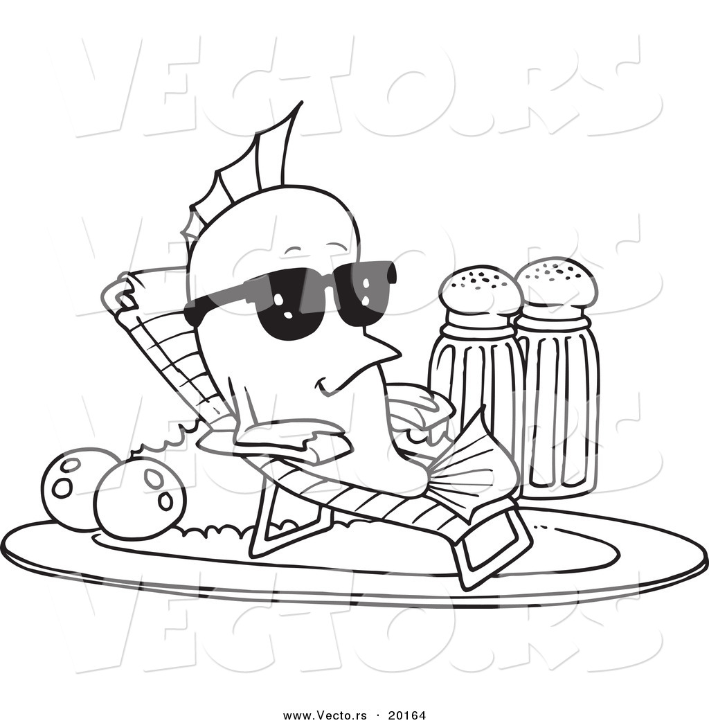 Vector Of A Cartoon Fish Relaxing On A Plate Outlined Coloring