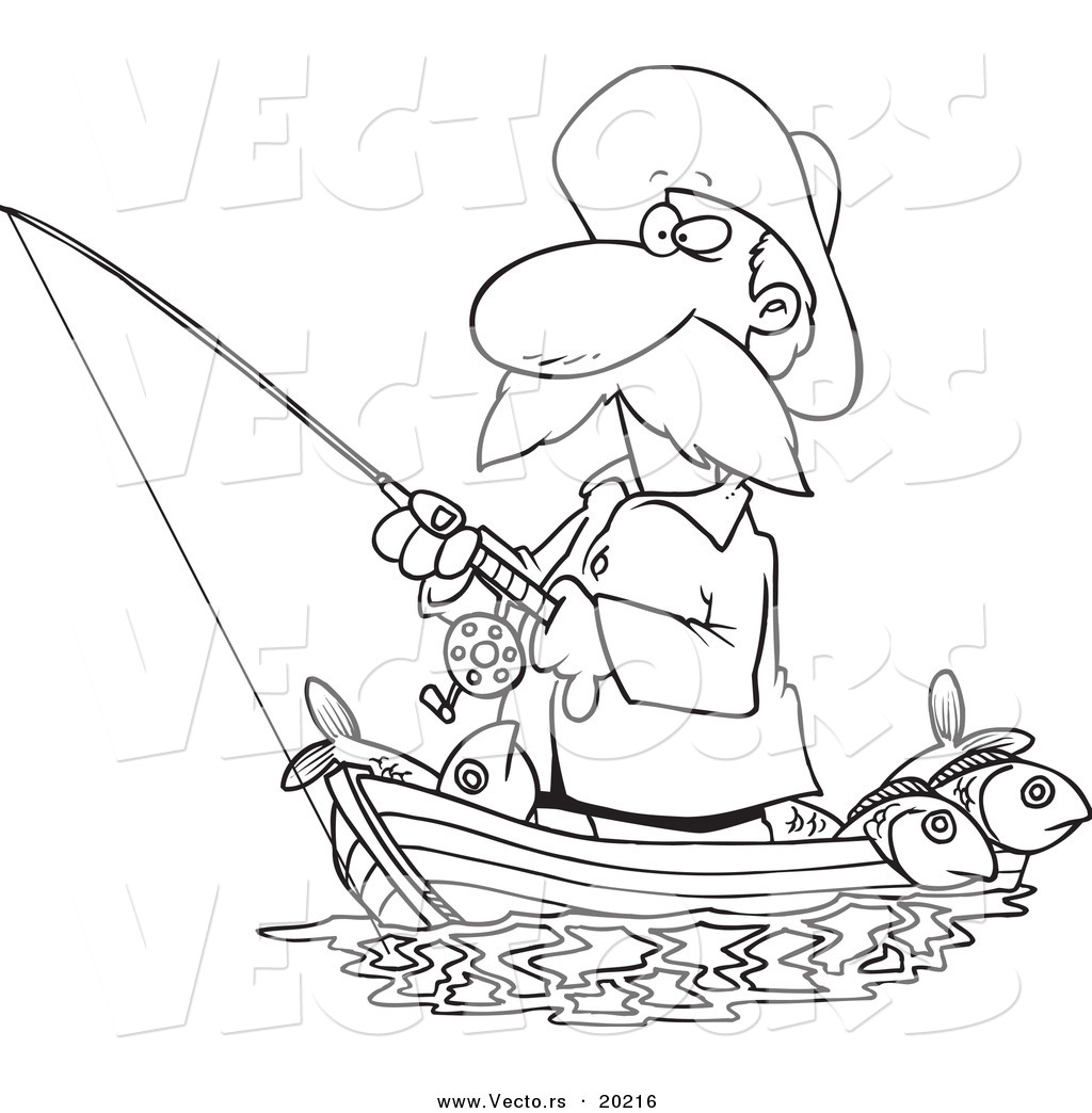 of a cartoon standing in his boat outlined