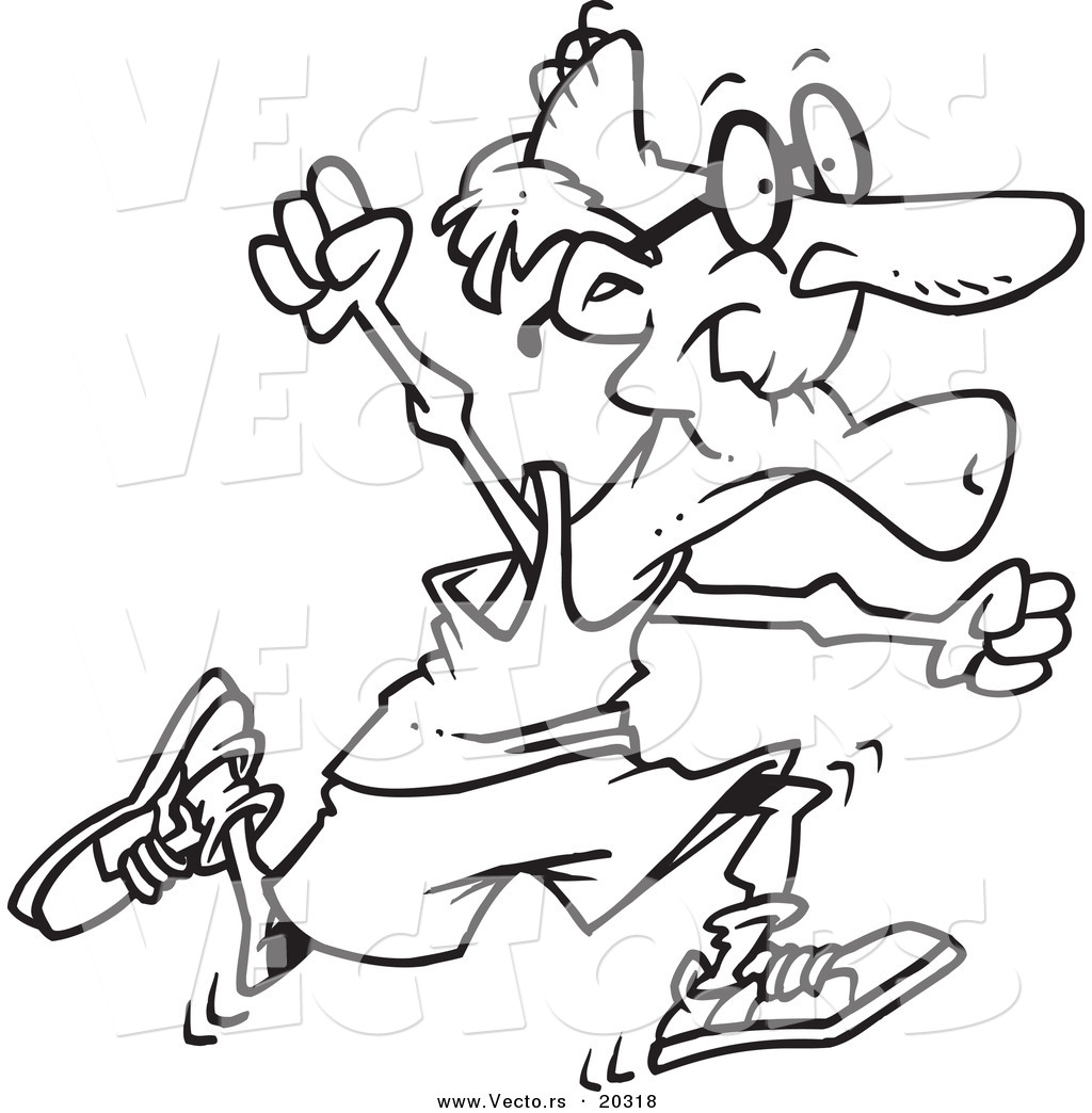 Vector Of A Cartoon Fit Senior Man Running