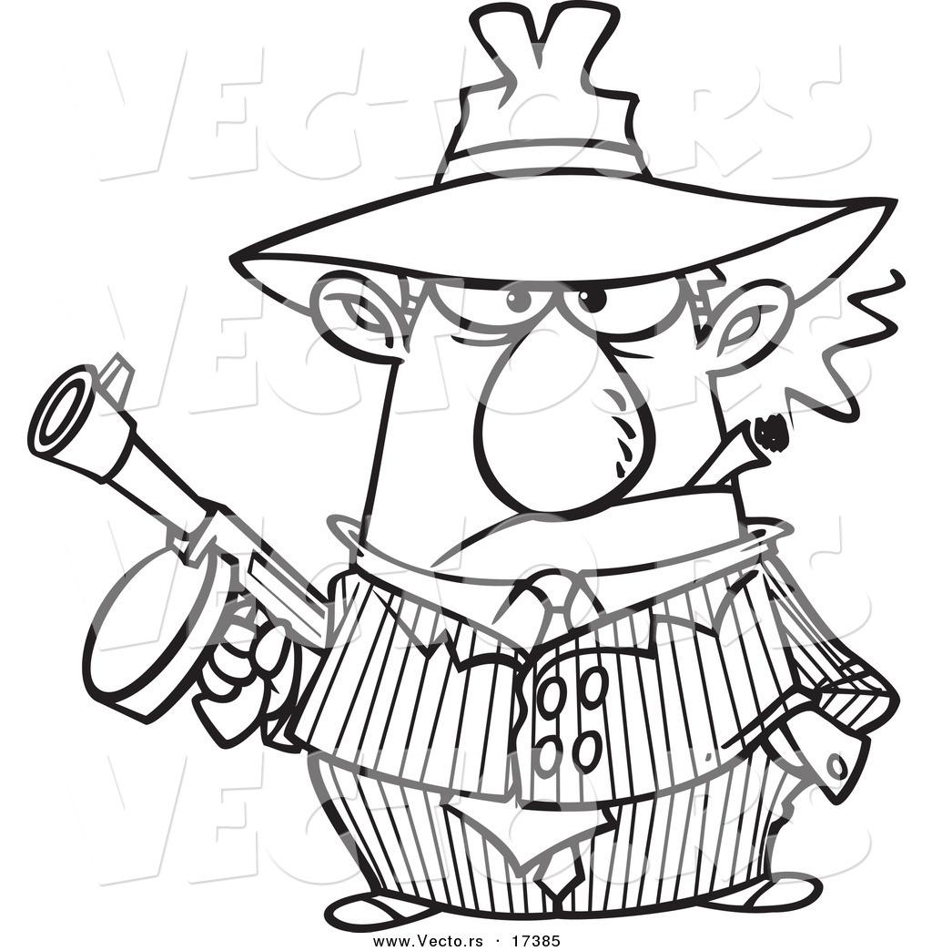 Vector Of A Cartoon Gangster Holding A Gun And Smoking A