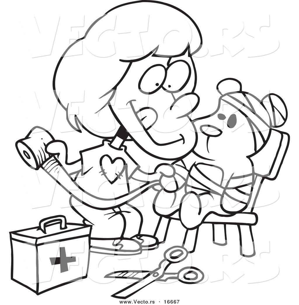 Vector Of A Cartoon Girl Bandaging Up Her Teddy Bear