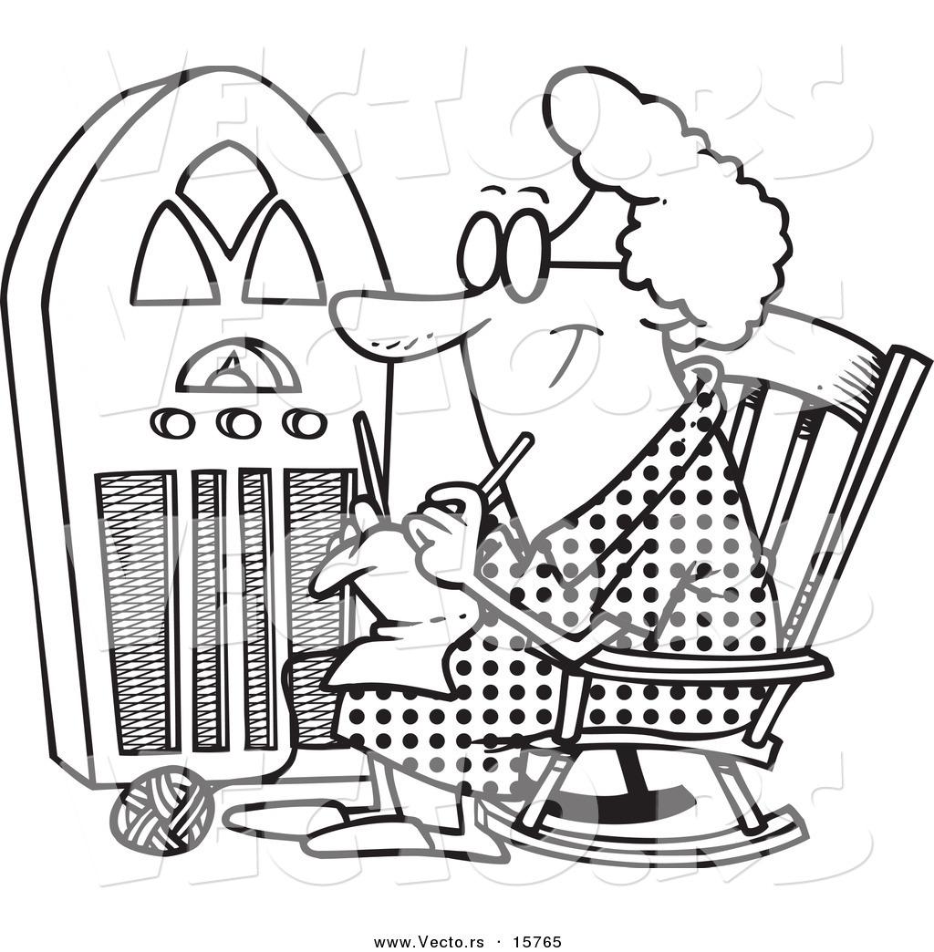Vector Of A Cartoon Granny Knitting By A Radio