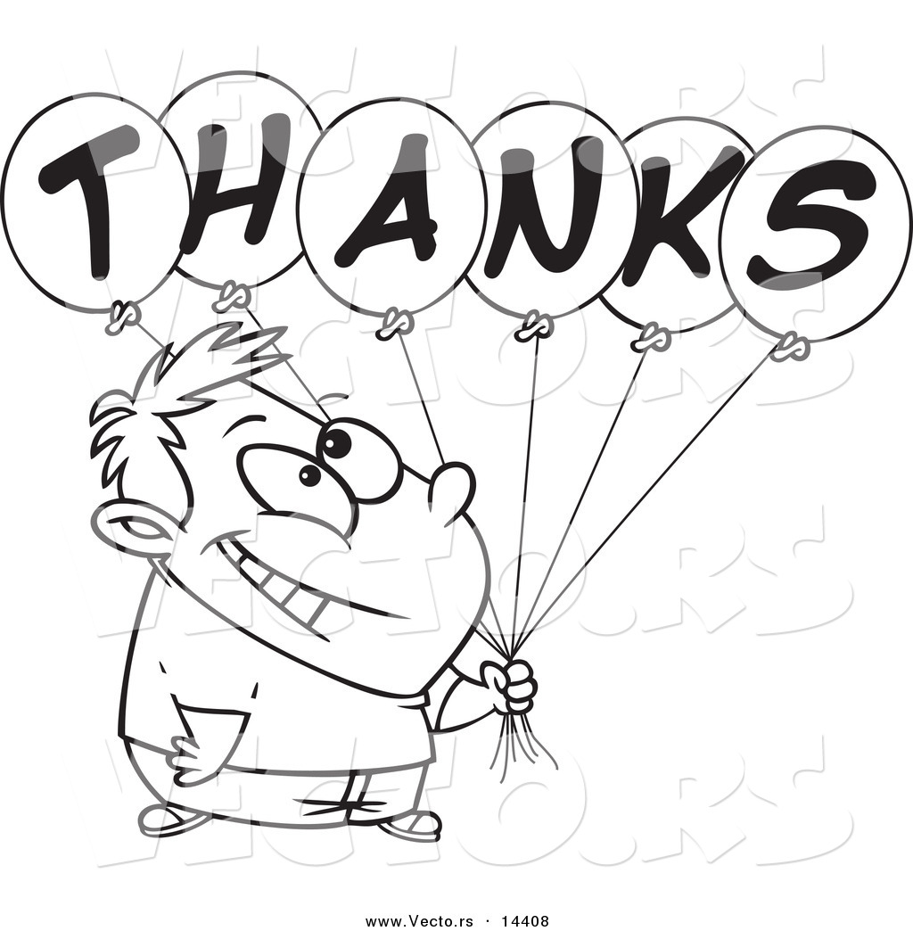 vector of a cartoon grateful boy holding thanks balloons