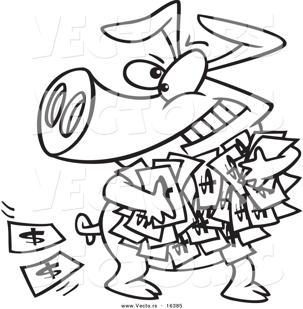 Vector Of A Cartoon Greedy Pig With Money Outlined