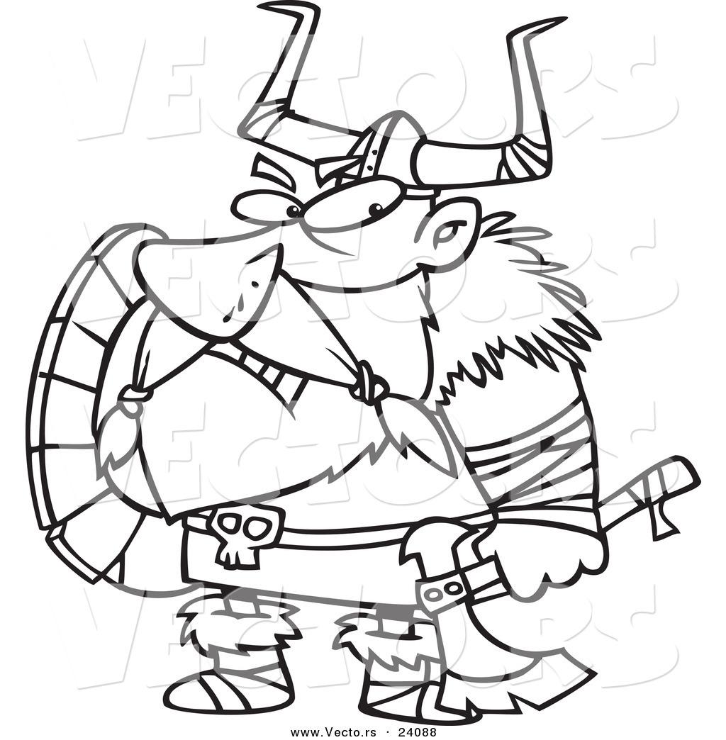 Vector Of A Cartoon Grumpy Viking Holding An Axe And Shield