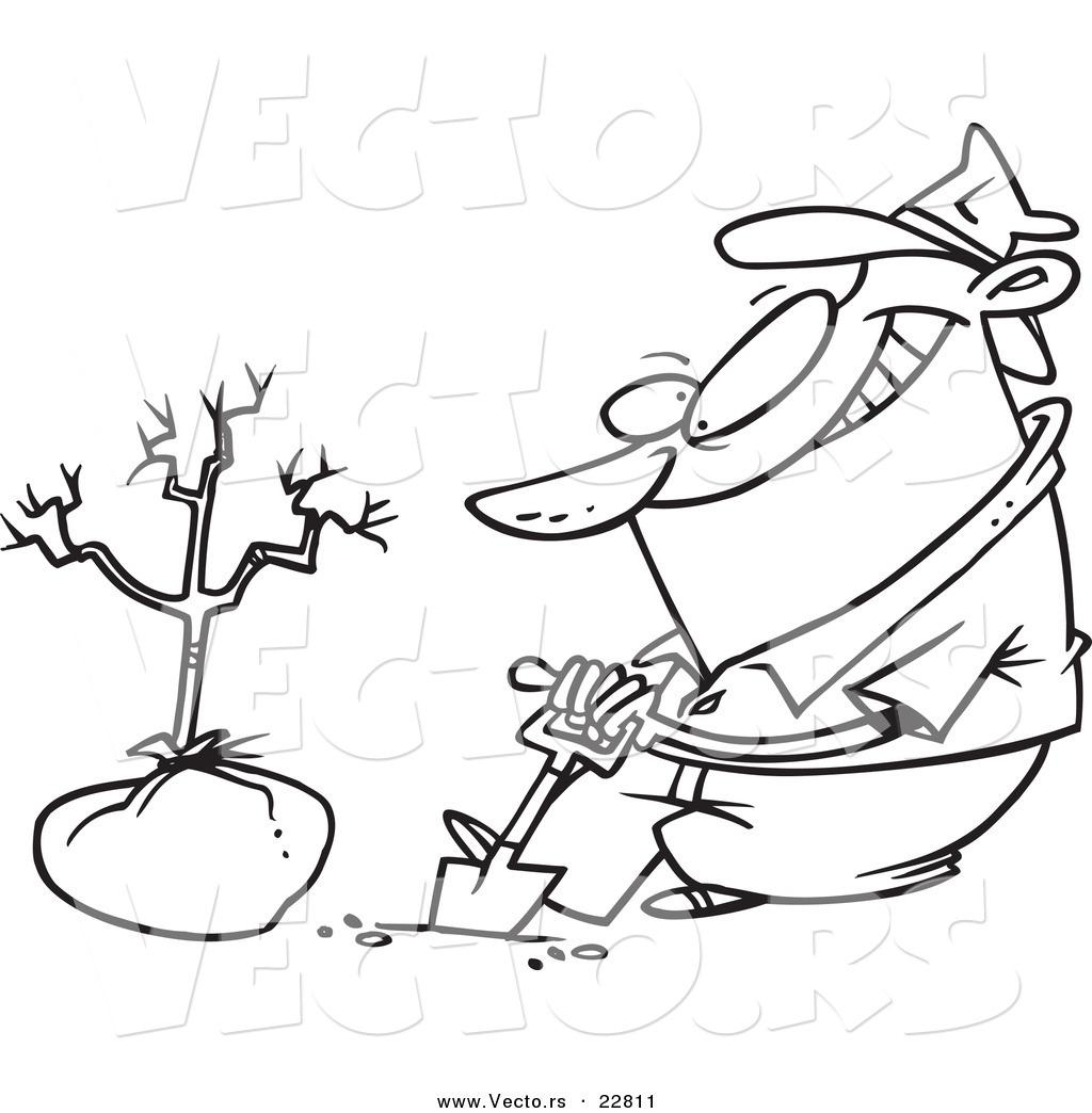 Vector Of A Cartoon Guy Planting A Tree