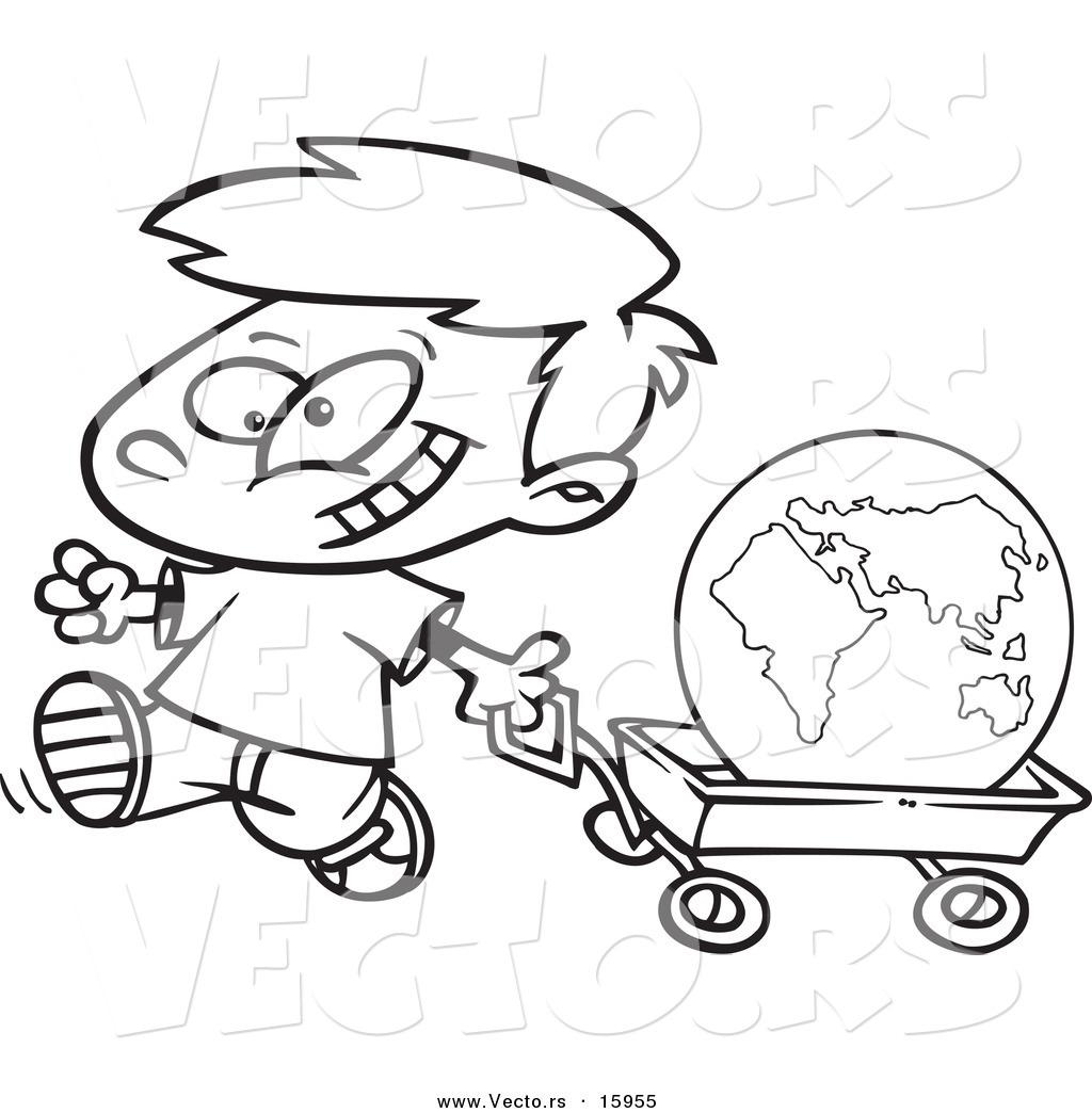 Vector Of A Cartoon Happy Boy Pulling The Globe In A Wagon