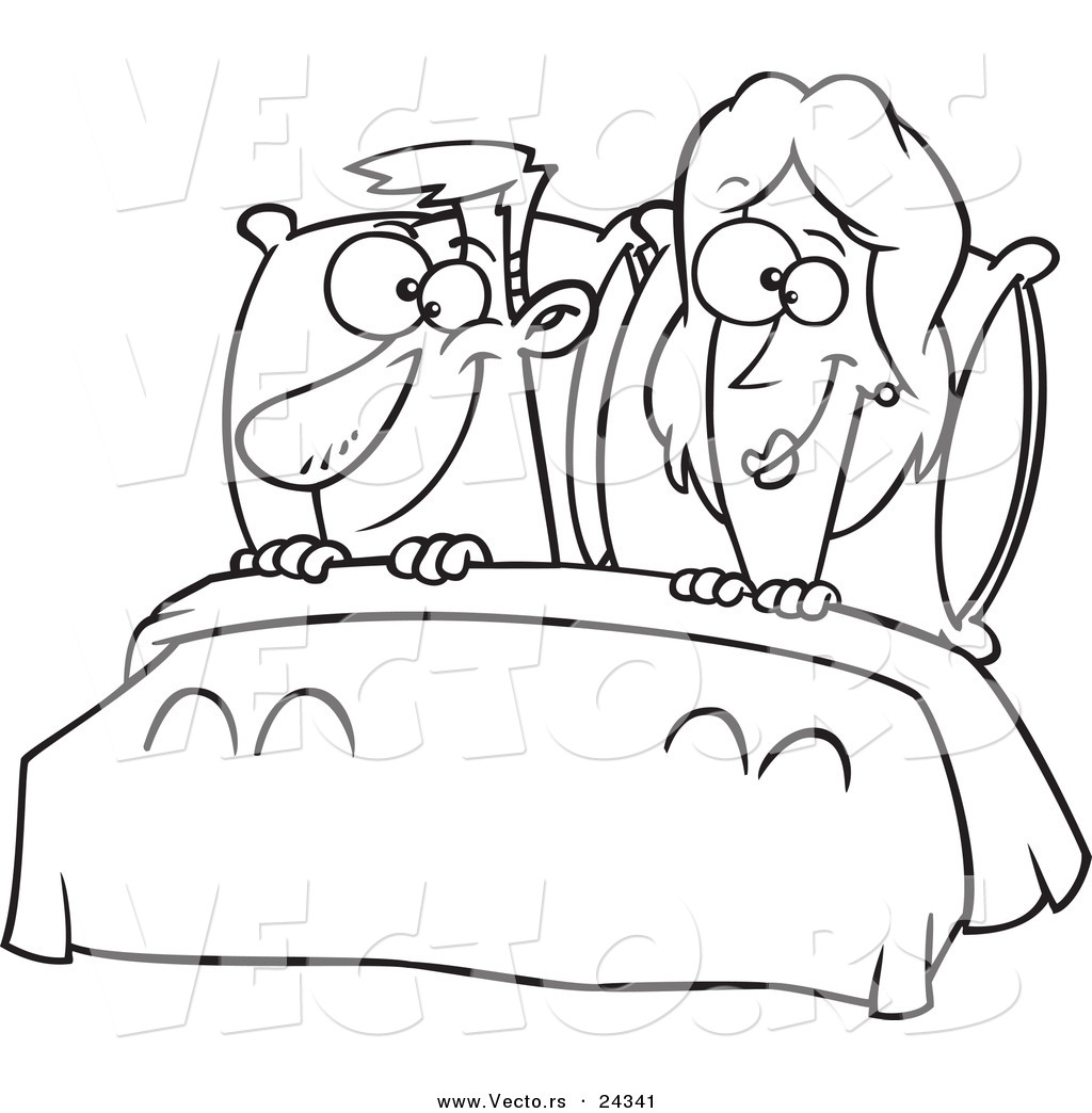 Vector Of A Cartoon Happy Couple In Bed