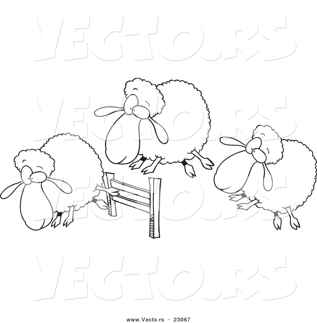 Vector Of A Cartoon Herd Of Sheep Leaping A Fence