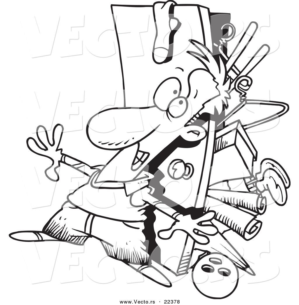 Vector Of A Cartoon Hoarder Man With A Full Closet