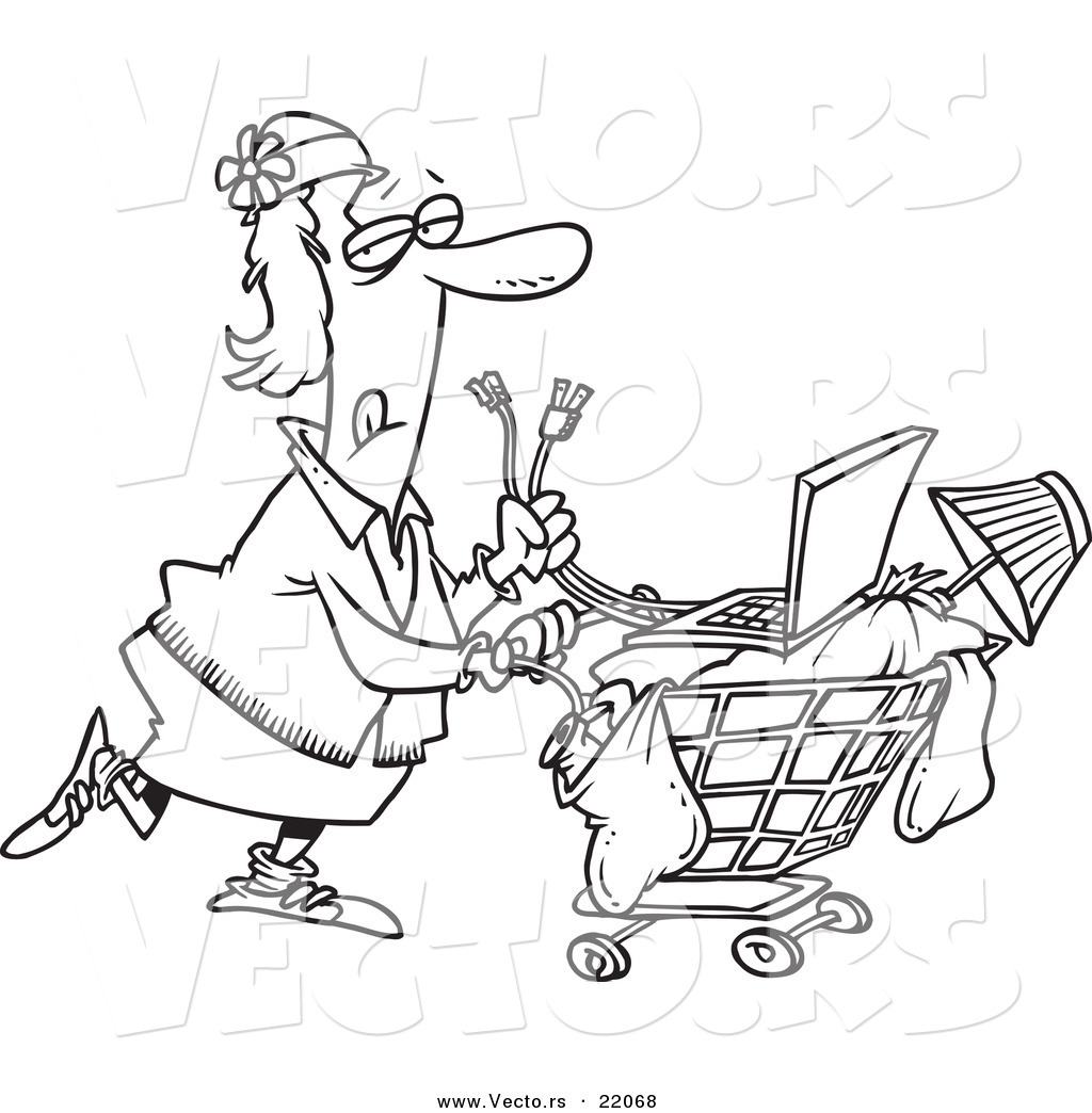 Vector Of A Cartoon Homeless Woman Pushing A Laptop On Her Cart