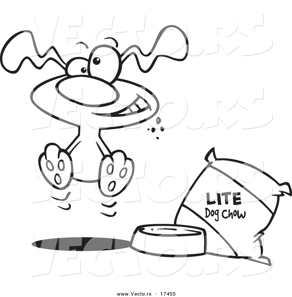 Vector Of A Cartoon Hungry Dog By A Bag Oft Food