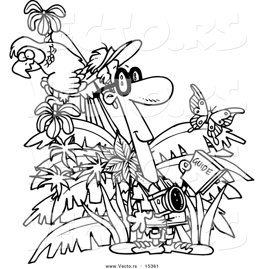 Vector Of A Cartoon Jungle Tourist