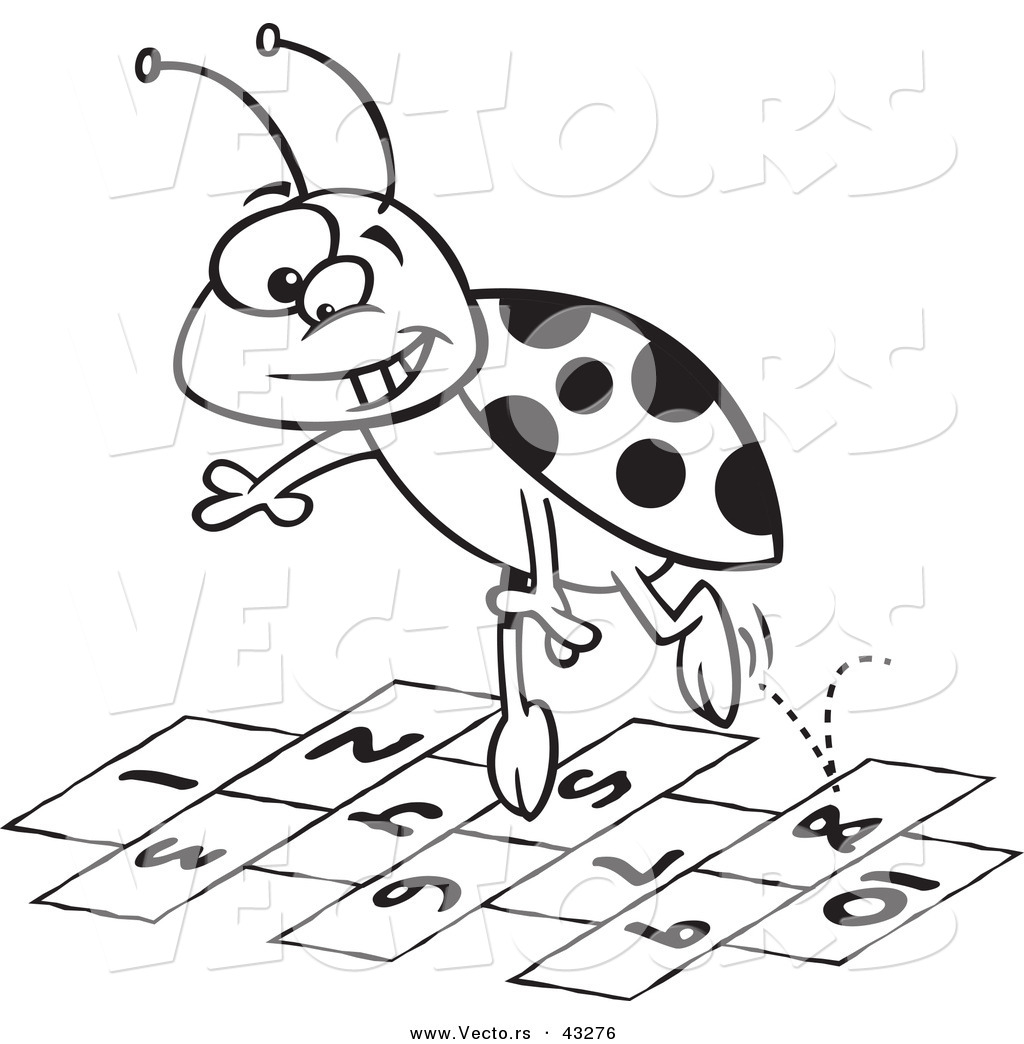 Vector Of A Cartoon Ladybug Jumping Over Hopscotch Numbers