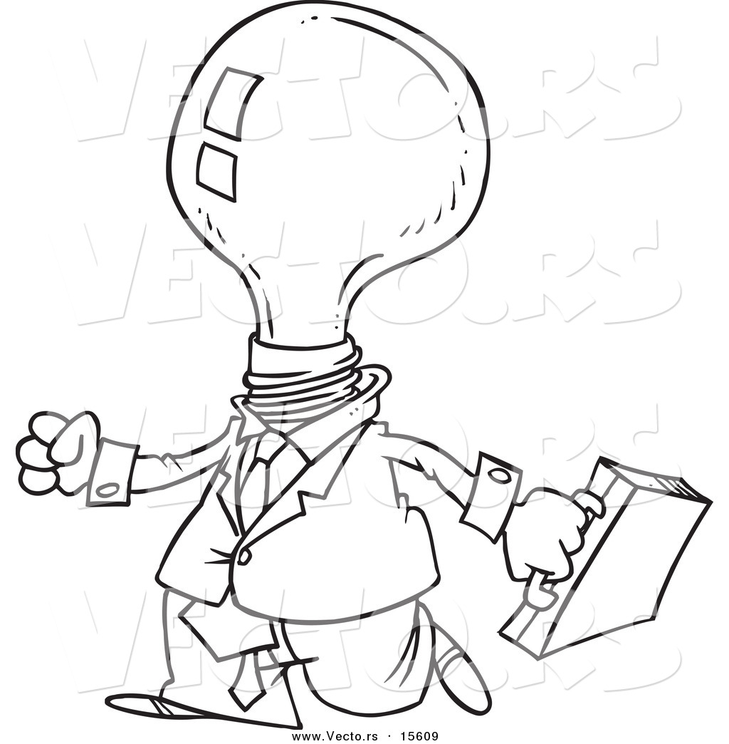 Vector Of A Cartoon Light Bulb Headed Businessman