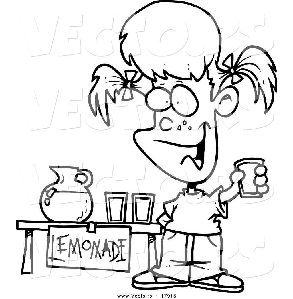 Vector Of A Cartoon Little Girl Selling Lemonade