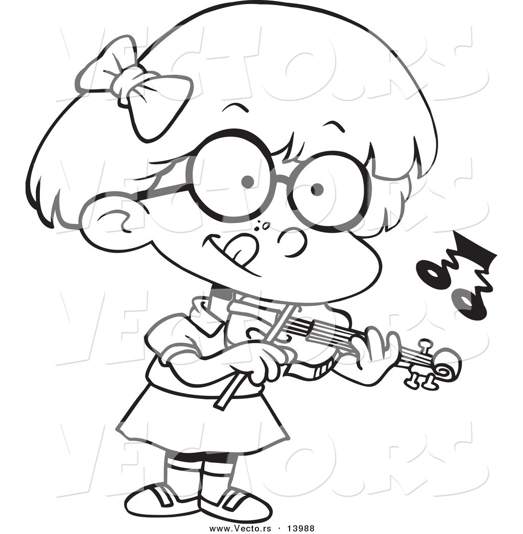 Vector Of A Cartoon Little Girl Standing And Playing A