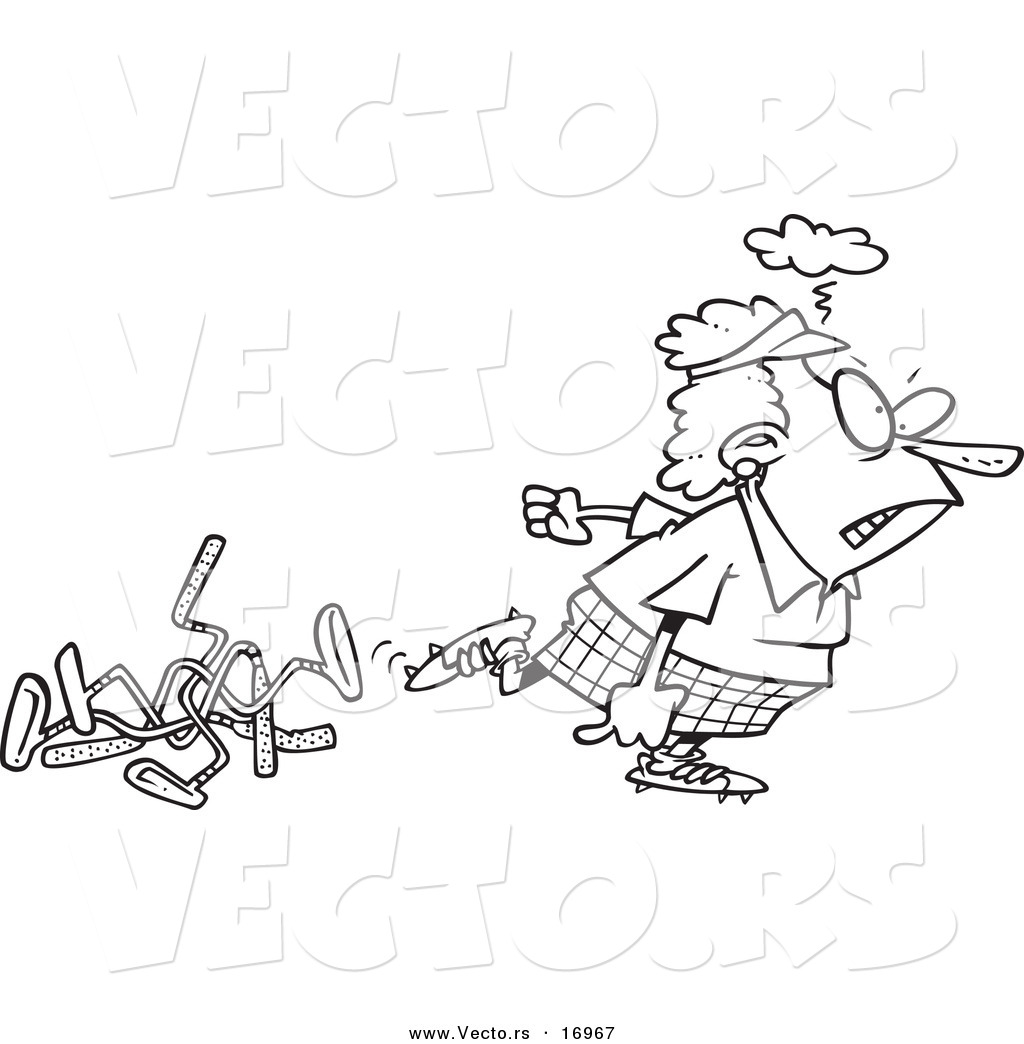 Vector Of A Cartoon Mad Female Golfer Walking Away From