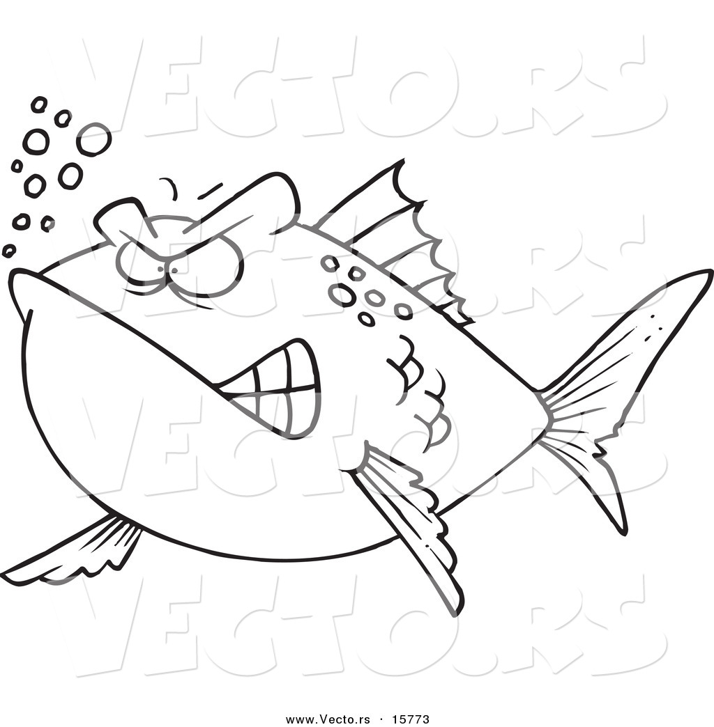 pond animals coloring page mad fish outlined coloring page