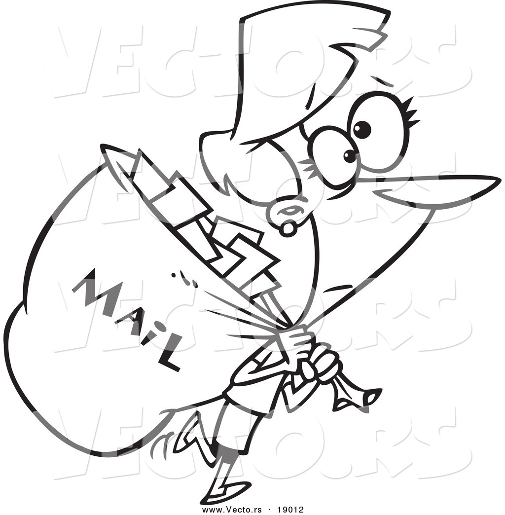 Vector Of A Cartoon Mail Woman Carrying A Big Bag