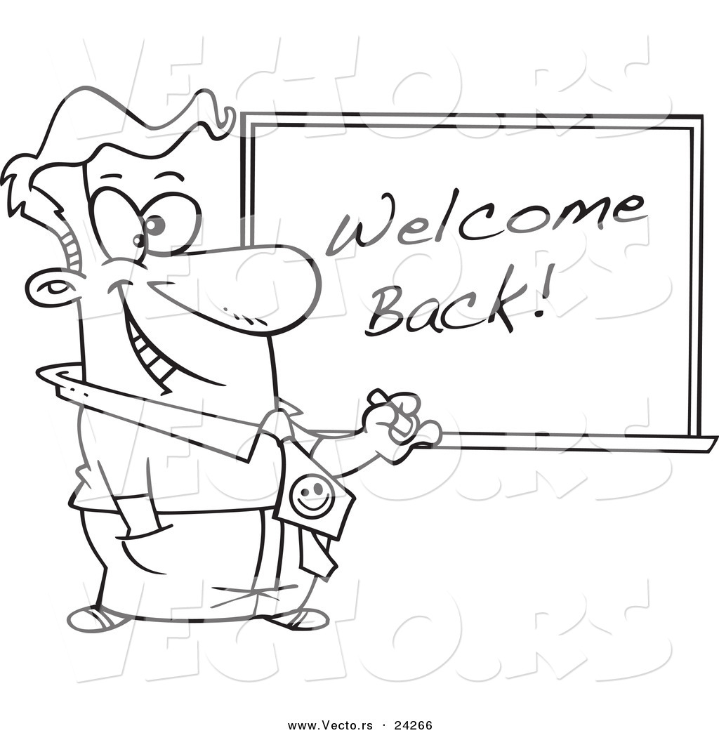 Vector Of A Cartoon Male Teacher Writing Welcome Back On A