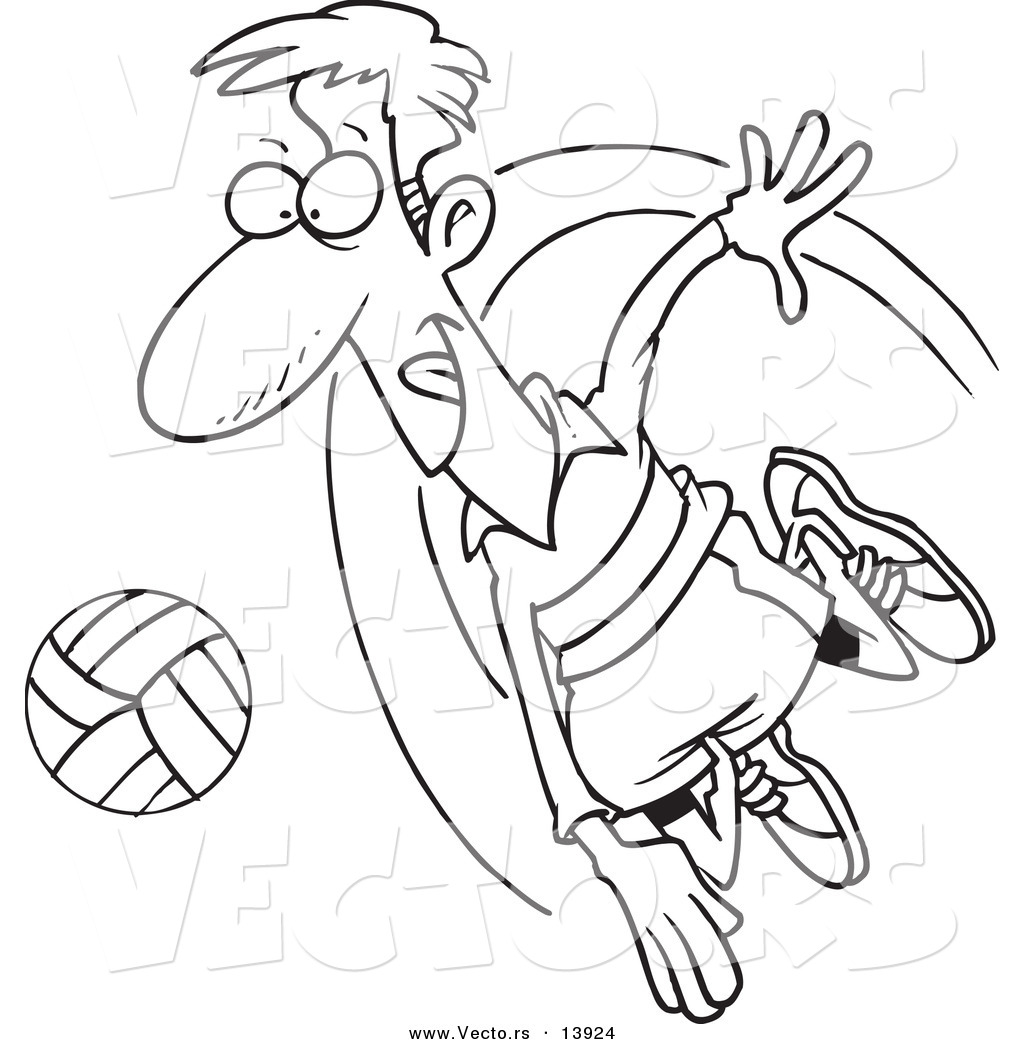 Vector Of A Cartoon Male Volleyball Player Hitting A Ball